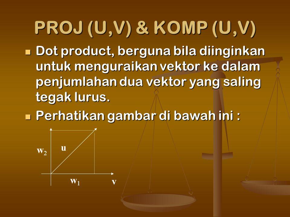 PROJ (U,V) & KOMP (U,V) Dot product, berguna bila diinginkan untuk menguraikan vektor ke dalam penjumlahan dua vektor yang saling tegak lurus.