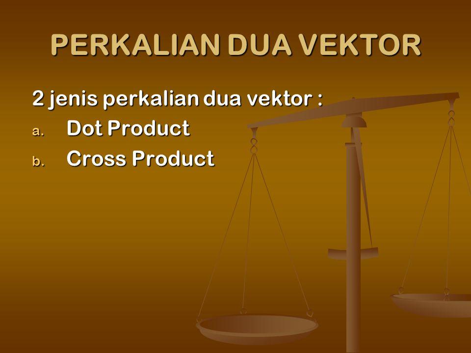 PERKALIAN DUA VEKTOR 2 jenis perkalian dua vektor : a. Dot Product b. Cross Product