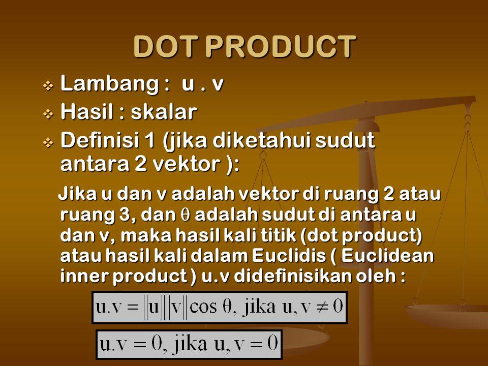 DOT PRODUCT  Lambang : u.