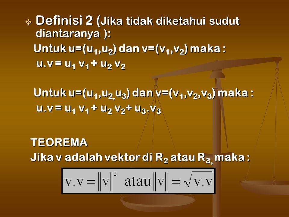  Definisi 2 ( Jika tidak diketahui sudut diantaranya ): Untuk u=(u 1,u 2 ) dan v=(v 1,v 2 ) maka : Untuk u=(u 1,u 2 ) dan v=(v 1,v 2 ) maka : u.v = u 1 v 1 + u 2 v 2 u.v = u 1 v 1 + u 2 v 2 Untuk u=(u 1,u 2, u 3 ) dan v=(v 1,v 2,v 3 ) maka : Untuk u=(u 1,u 2, u 3 ) dan v=(v 1,v 2,v 3 ) maka : u.v = u 1 v 1 + u 2 v 2 + u 3.v 3 u.v = u 1 v 1 + u 2 v 2 + u 3.v 3 TEOREMA TEOREMA Jika v adalah vektor di R 2 atau R 3, maka : Jika v adalah vektor di R 2 atau R 3, maka :