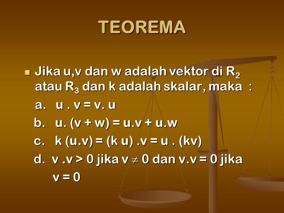 TEOREMA Jika u,v dan w adalah vektor di R 2 atau R 3 dan k adalah skalar, maka : Jika u,v dan w adalah vektor di R 2 atau R 3 dan k adalah skalar, maka : a.