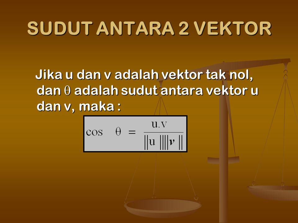 SUDUT ANTARA 2 VEKTOR Jika u dan v adalah vektor tak nol, dan  adalah sudut antara vektor u dan v, maka : Jika u dan v adalah vektor tak nol, dan  adalah sudut antara vektor u dan v, maka :