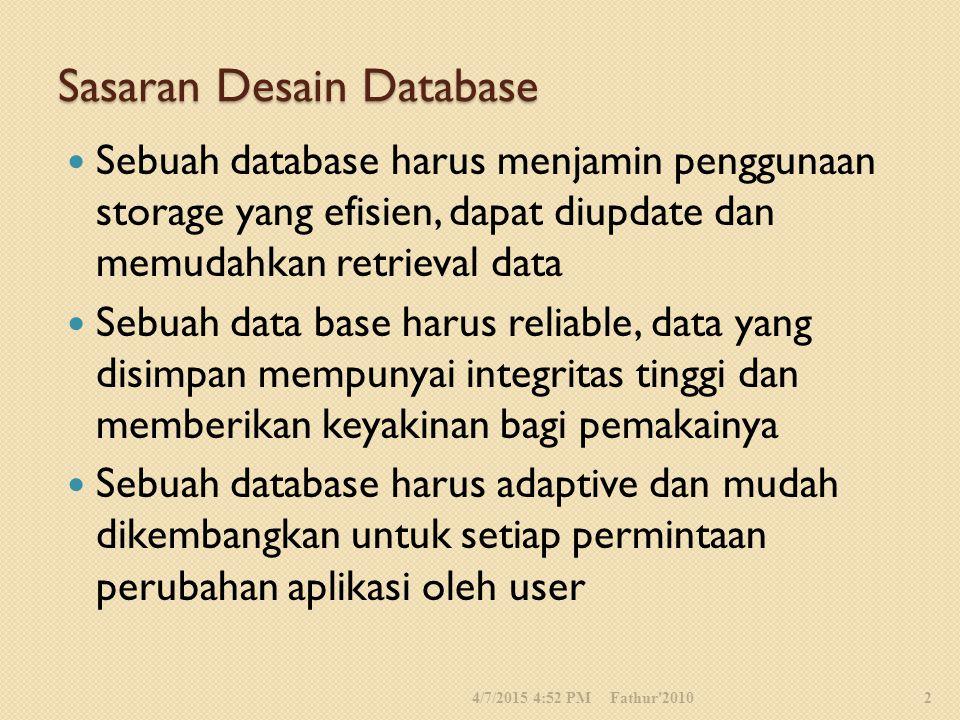 Sasaran Desain Database Sebuah database harus menjamin penggunaan storage yang efisien, dapat diupdate dan memudahkan retrieval data Sebuah data base