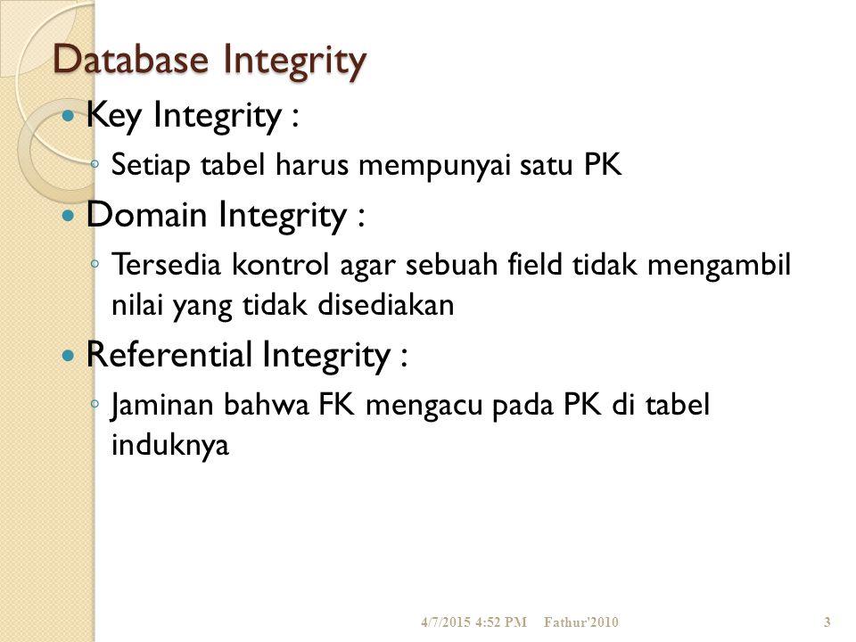 Database Integrity Key Integrity : ◦ Setiap tabel harus mempunyai satu PK Domain Integrity : ◦ Tersedia kontrol agar sebuah field tidak mengambil nila