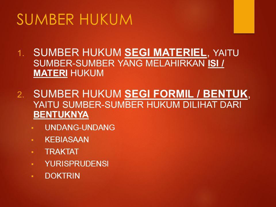 SUMBER HUKUM 1. SUMBER HUKUM SEGI MATERIEL, YAITU SUMBER-SUMBER YANG MELAHIRKAN ISI / MATERI HUKUM 2. SUMBER HUKUM SEGI FORMIL / BENTUK, YAITU SUMBER-