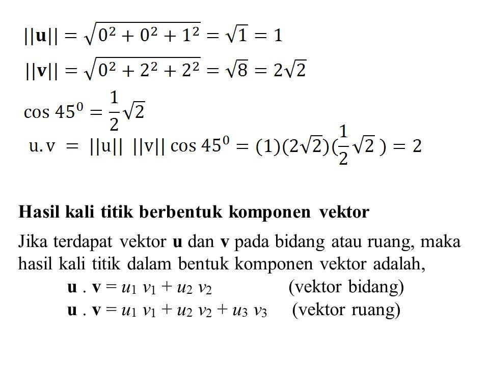 Hasil kali titik berbentuk komponen vektor Jika terdapat vektor u dan v pada bidang atau ruang, maka hasil kali titik dalam bentuk komponen vektor ada