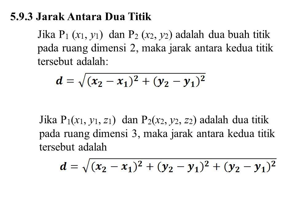 5.9.3 Jarak Antara Dua Titik Jika P 1 (x 1, y 1 ) dan P 2 (x 2, y 2 ) adalah dua buah titik pada ruang dimensi 2, maka jarak antara kedua titik terseb