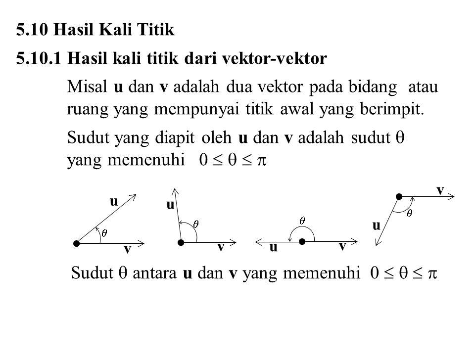 5.10 Hasil Kali Titik 5.10.1 Hasil kali titik dari vektor-vektor Misal u dan v adalah dua vektor pada bidang atau ruang yang mempunyai titik awal yang