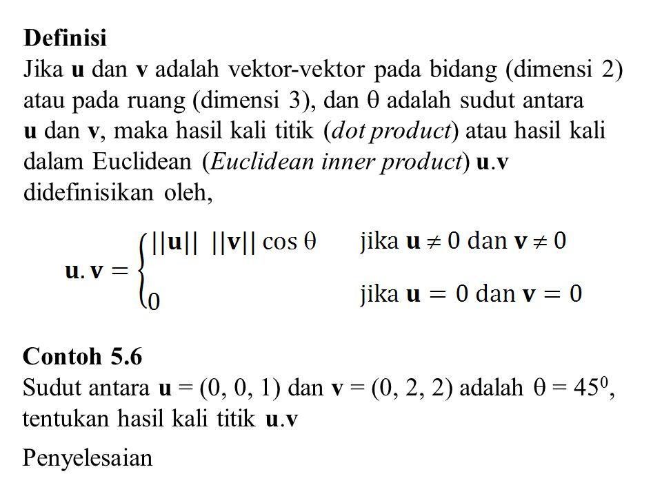 Definisi Jika u dan v adalah vektor-vektor pada bidang (dimensi 2) atau pada ruang (dimensi 3), dan  adalah sudut antara u dan v, maka hasil kali tit