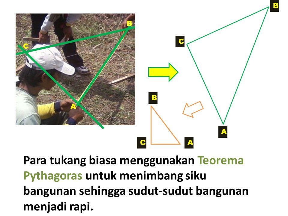 A C B C A B Para tukang biasa menggunakan Teorema Pythagoras untuk menimbang siku bangunan sehingga sudut-sudut bangunan menjadi rapi. A B C