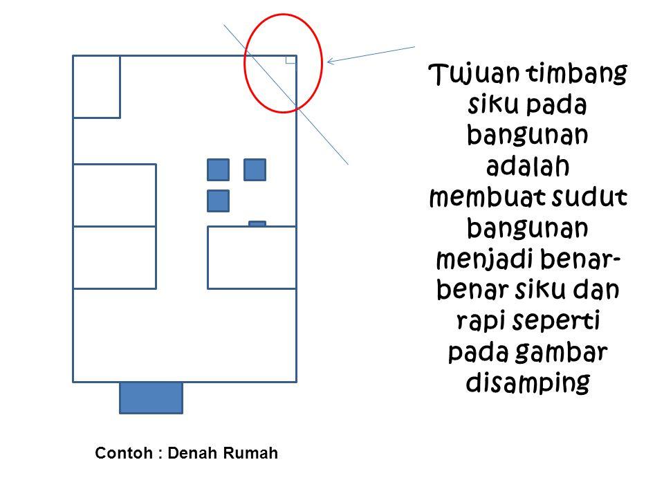 Tujuan timbang siku pada bangunan adalah membuat sudut bangunan menjadi benar- benar siku dan rapi seperti pada gambar disamping Contoh : Denah Rumah