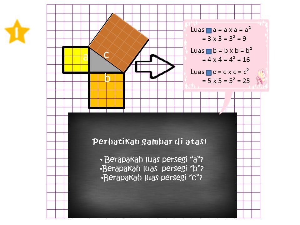 """a c b Perhatikan gambar di atas!Perhatikan gambar di atas! Berapakah luas persegi """"a""""? Berapakah luas persegi """"b""""? Berapakah luas persegi """"c""""? c Luas"""