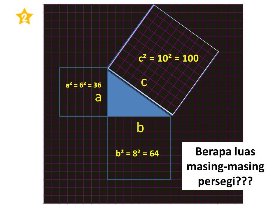 a b c Berapa luas masing-masing persegi??? a² = 6² = 36 c² = 10² = 100 b² = 8² = 64