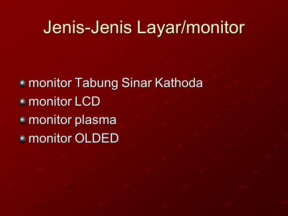 Layar/Monitor Tampilan komputer atau monitor komputer adalah salah satu jenis soft-copy device, karena keluarannya adalah berupa signal elektronik, da