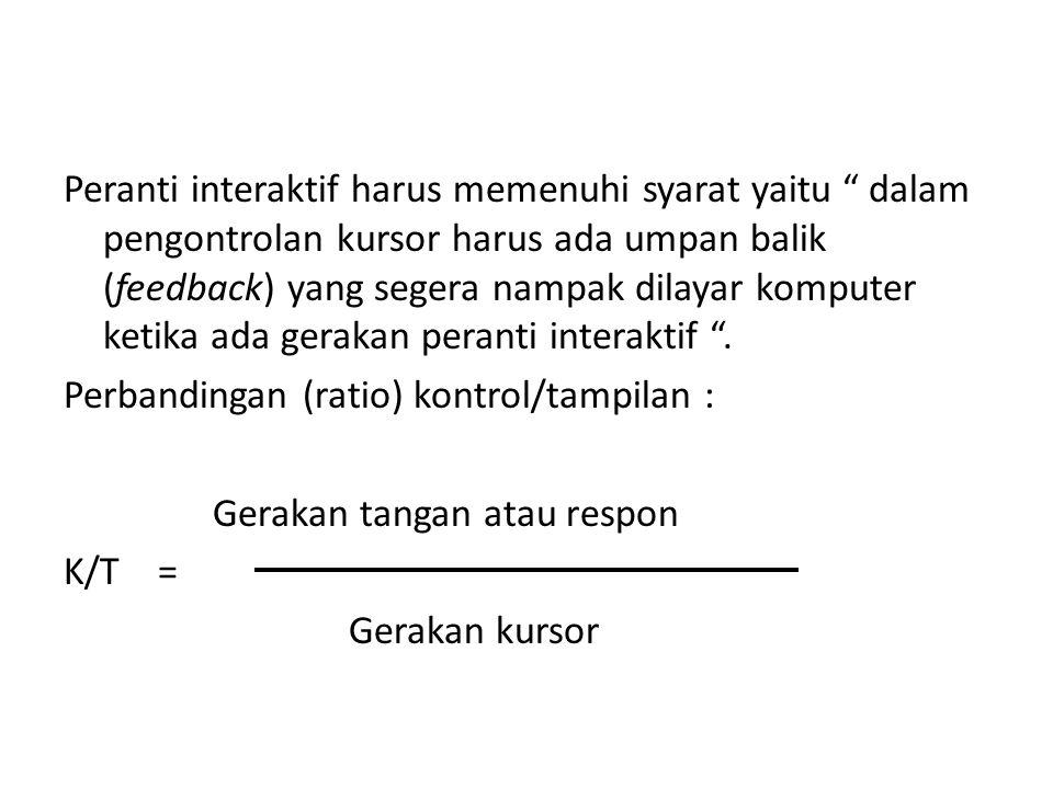 """2. Peranti Penuding dan Pengambil (Pointing and picking device) """" Peranti interaktif yang digunakan untuk menunjuk/menuding atau menempatkan kursor pa"""