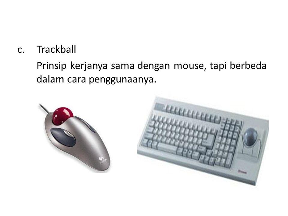 b. Joystick Gerakan kursor dikendalikan oleh gerakan tuas atau dengan tekanan pada tuas. Joystick elements: 1. Stick 2. Base 3. Trigger 4. Extra butto