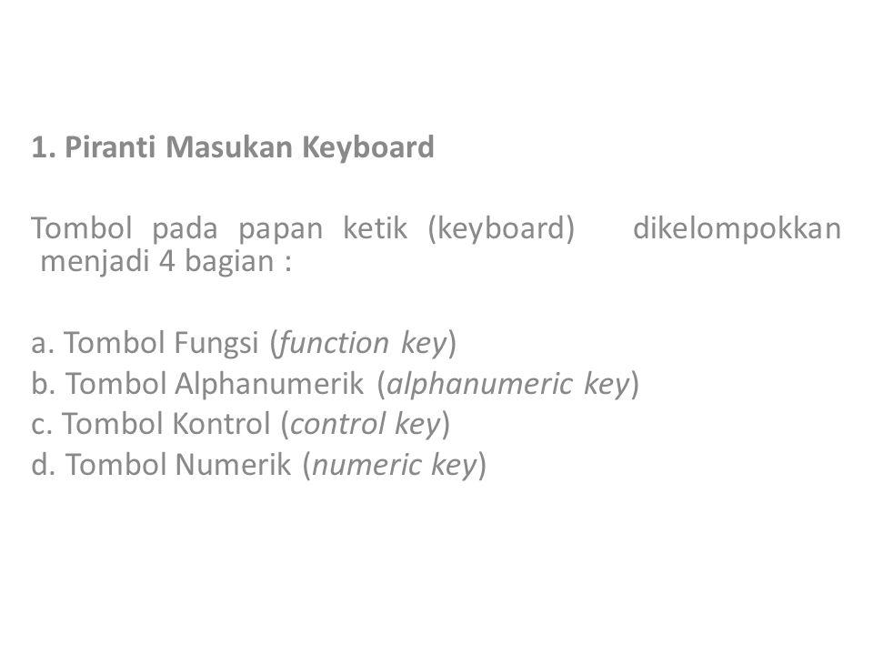 1.Piranti Masukan Keyboard Tombol pada papan ketik (keyboard) dikelompokkan menjadi 4 bagian : a.