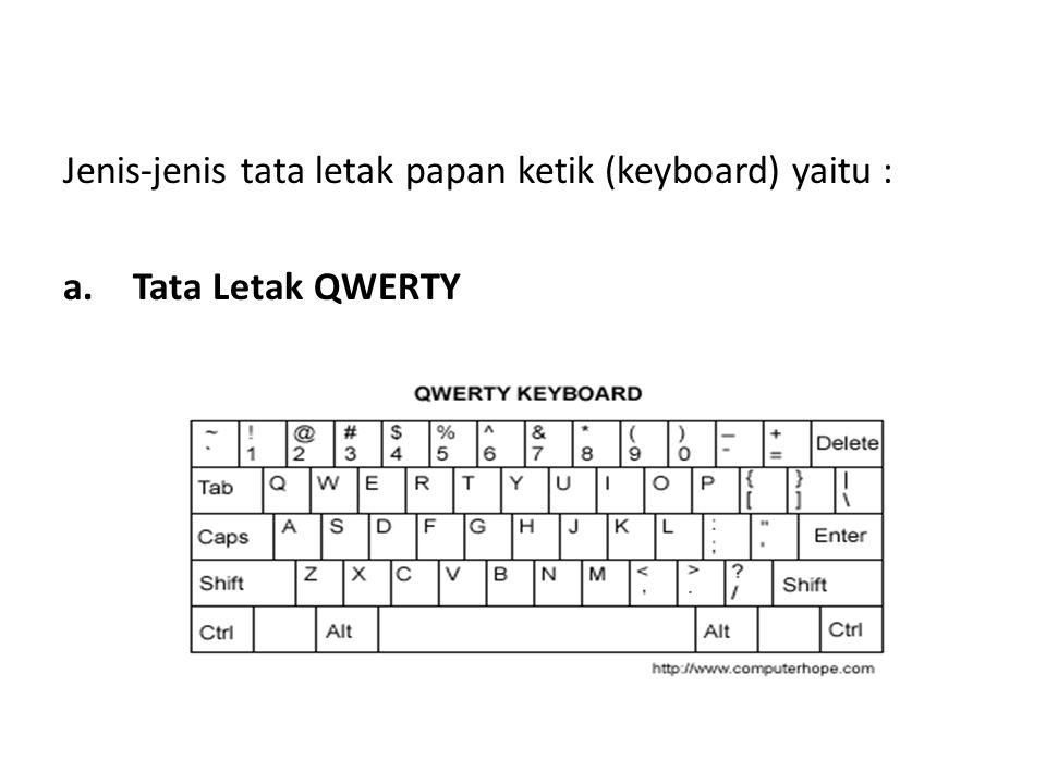 Jenis-jenis tata letak papan ketik (keyboard) yaitu : a.Tata Letak QWERTY