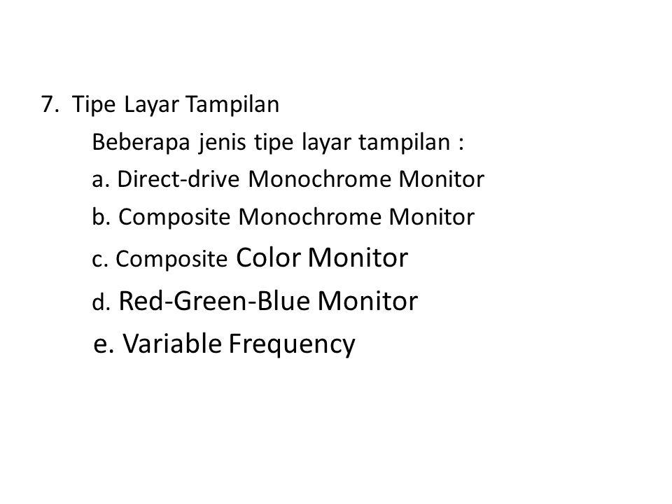 Jenis adapter atau pengolah tampilan yang digunakan pada komputer adalah : - MDA (Momochrome Display Adapter) - CGA (Color Graphics Adapter) - VGA (Vi
