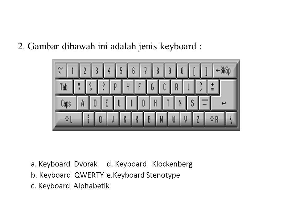 1. Gambar dibawah ini adalah jenis keyboard : a. Keyboard Dvorak d. Keyboard Klockenberg b. Keyboard QWERTY e. Keyboard Stenotype c. Keyboard Alphabet