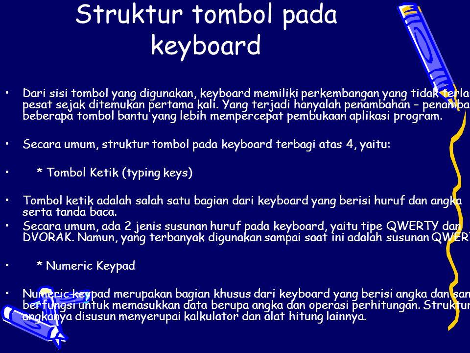 Struktur tombol pada keyboard Dari sisi tombol yang digunakan, keyboard memiliki perkembangan yang tidak terlalu pesat sejak ditemukan pertama kali. Y