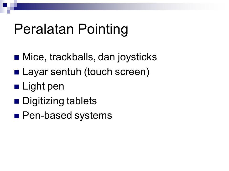 Peralatan Pointing Mice, trackballs, dan joysticks Layar sentuh (touch screen) Light pen Digitizing tablets Pen-based systems