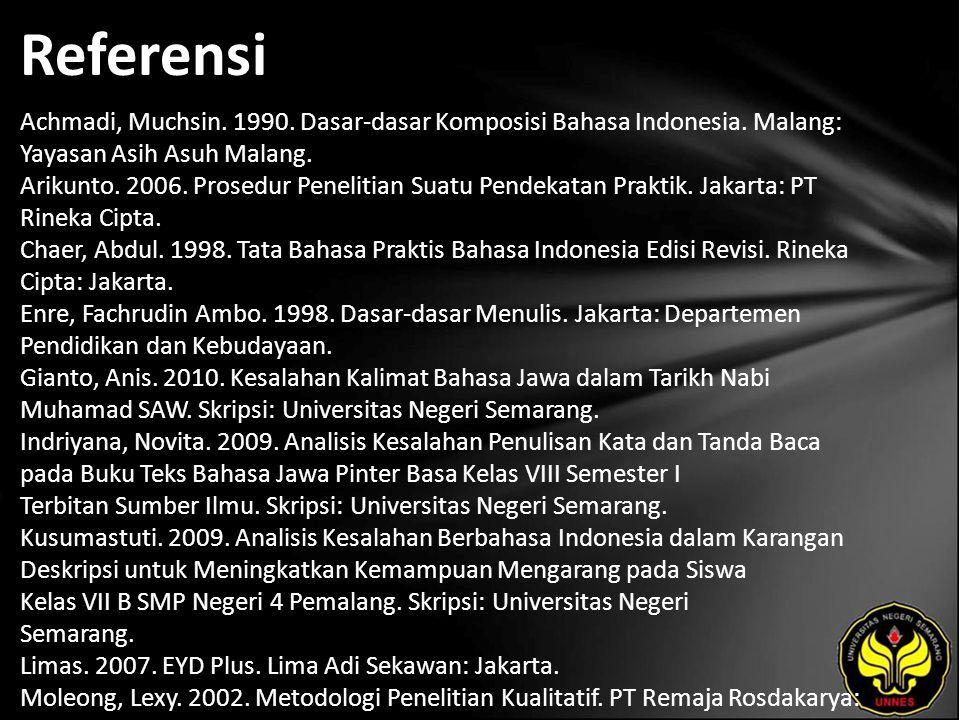 Referensi Achmadi, Muchsin. 1990. Dasar-dasar Komposisi Bahasa Indonesia. Malang: Yayasan Asih Asuh Malang. Arikunto. 2006. Prosedur Penelitian Suatu