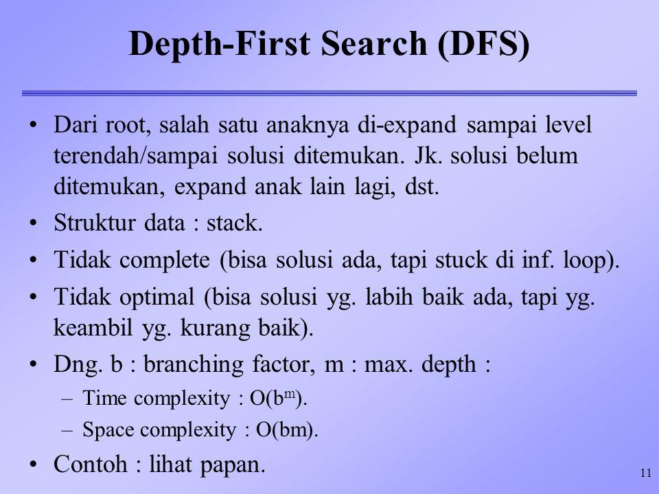 11 Depth-First Search (DFS) Dari root, salah satu anaknya di-expand sampai level terendah/sampai solusi ditemukan. Jk. solusi belum ditemukan, expand