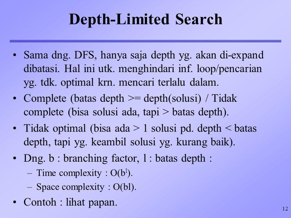 12 Depth-Limited Search Sama dng. DFS, hanya saja depth yg. akan di-expand dibatasi. Hal ini utk. menghindari inf. loop/pencarian yg. tdk. optimal krn