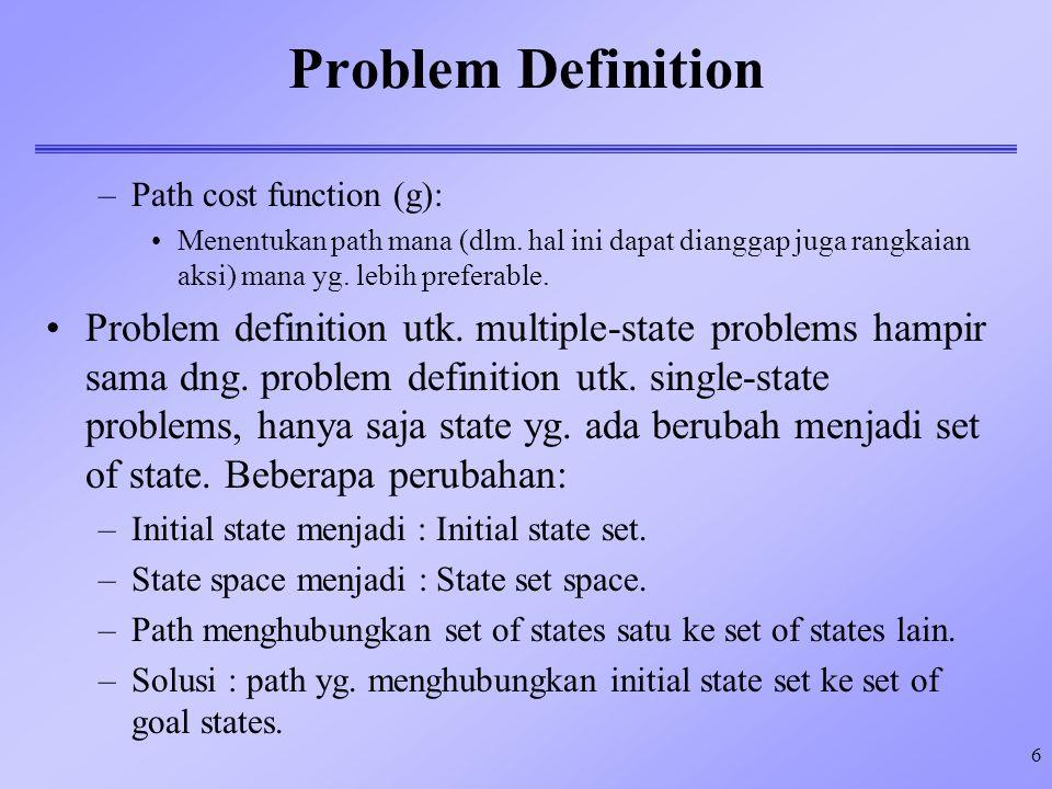 6 Problem Definition –Path cost function (g): Menentukan path mana (dlm. hal ini dapat dianggap juga rangkaian aksi) mana yg. lebih preferable. Proble