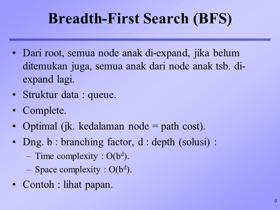 9 Breadth-First Search (BFS) Dari root, semua node anak di-expand, jika belum ditemukan juga, semua anak dari node anak tsb. di- expand lagi. Struktur