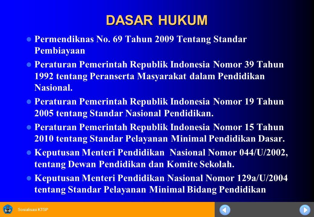 Sosialisasi KTSP DASAR HUKUM Permendiknas No. 69 Tahun 2009 Tentang Standar Pembiayaan Peraturan Pemerintah Republik Indonesia Nomor 39 Tahun 1992 ten