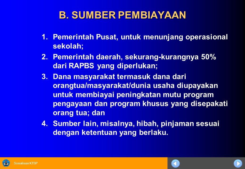 Sosialisasi KTSP B. SUMBER PEMBIAYAAN 1.Pemerintah Pusat, untuk menunjang operasional sekolah; 2.Pemerintah daerah, sekurang-kurangnya 50% dari RAPBS