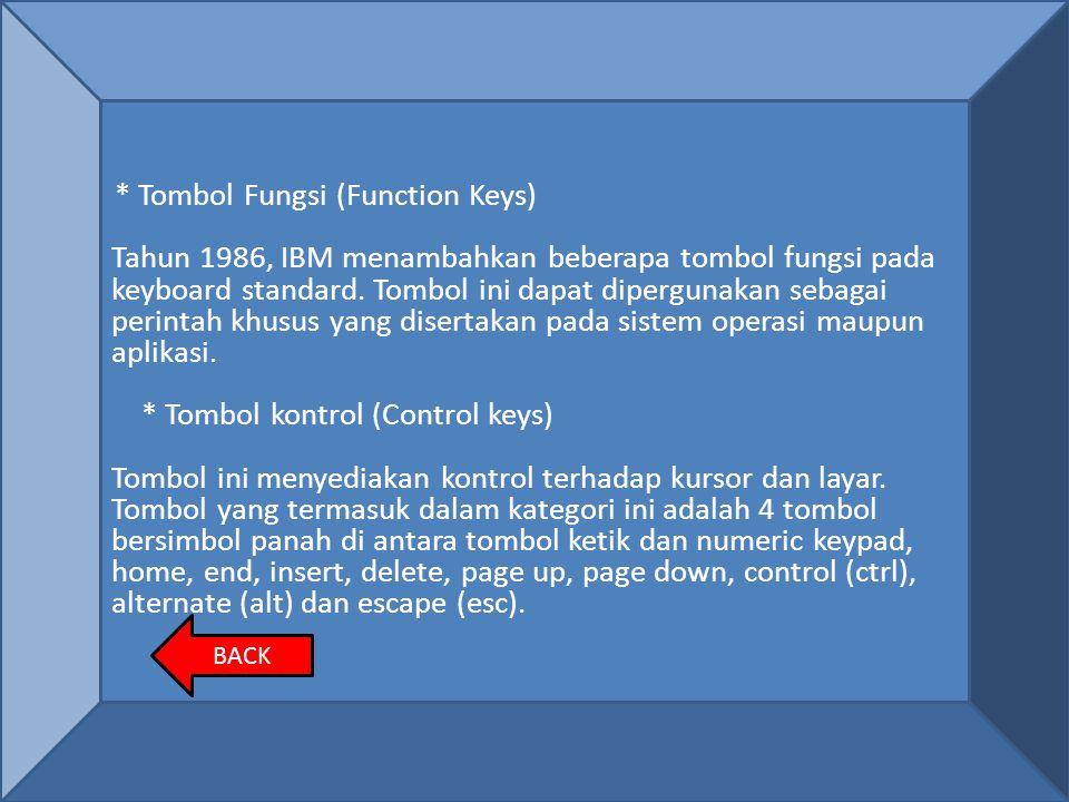 * Tombol Fungsi (Function Keys) Tahun 1986, IBM menambahkan beberapa tombol fungsi pada keyboard standard. Tombol ini dapat dipergunakan sebagai perin