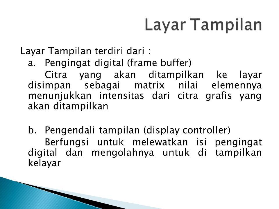 Layar Tampilan terdiri dari : a.Pengingat digital (frame buffer) Citra yang akan ditampilkan ke layar disimpan sebagai matrix nilai elemennya menunjukkan intensitas dari citra grafis yang akan ditampilkan b.Pengendali tampilan (display controller) Berfungsi untuk melewatkan isi pengingat digital dan mengolahnya untuk di tampilkan kelayar