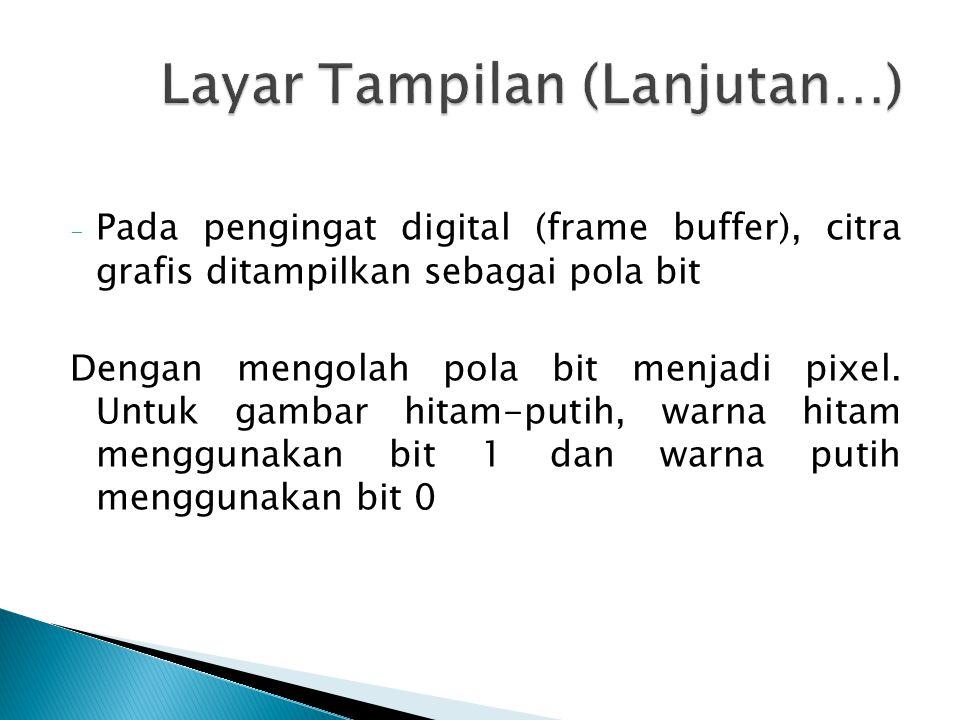 - Pada pengingat digital (frame buffer), citra grafis ditampilkan sebagai pola bit Dengan mengolah pola bit menjadi pixel.