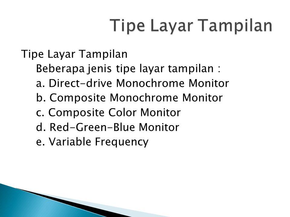 Tipe Layar Tampilan Beberapa jenis tipe layar tampilan : a.