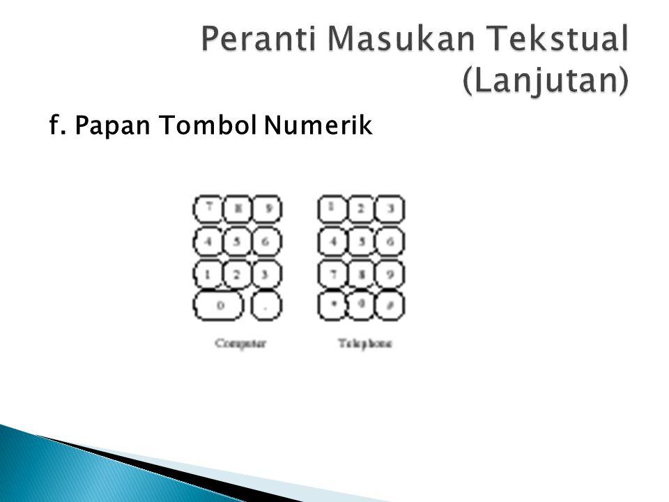 f. Papan Tombol Numerik
