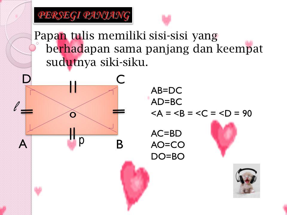 1 1 2 2 3 3 4 4 2 2 3 3 5 5 6 6 7 7 8 8 4 4 Mencari luas persegi panjang L = 4 + 4 + 4 + 4 + 4 + 4 +4 + 4 L = 8 x 4 L = p x l karena p > l maka 8 = p dan 4 = l Jadi Luas persegi panjang : L = p x l 4 cm 8 cm