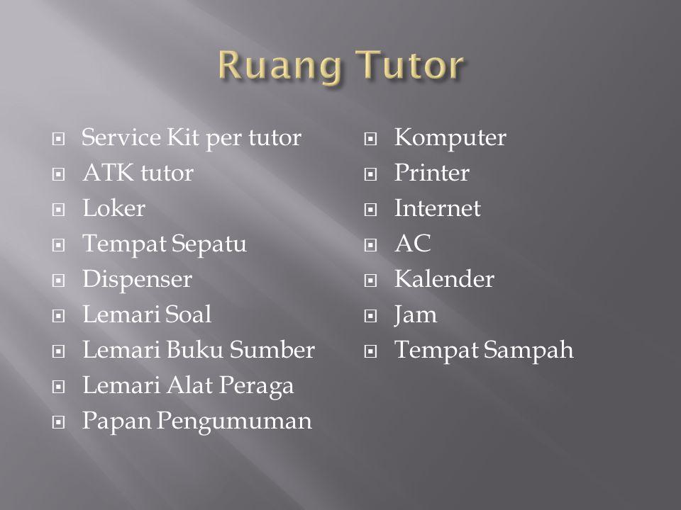  Service Kit per tutor  ATK tutor  Loker  Tempat Sepatu  Dispenser  Lemari Soal  Lemari Buku Sumber  Lemari Alat Peraga  Papan Pengumuman  K