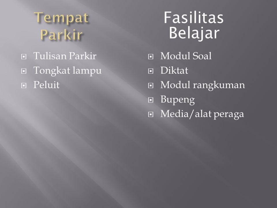  Tulisan Parkir  Tongkat lampu  Peluit  Modul Soal  Diktat  Modul rangkuman  Bupeng  Media/alat peraga Fasilitas Belajar