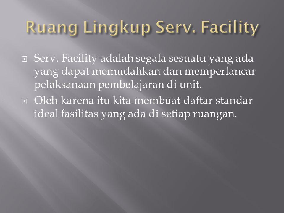  Serv. Facility adalah segala sesuatu yang ada yang dapat memudahkan dan memperlancar pelaksanaan pembelajaran di unit.  Oleh karena itu kita membua