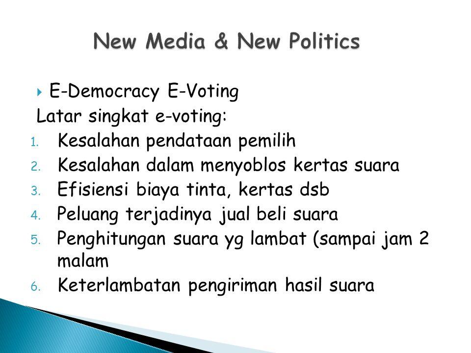  E-Democracy E-Voting Latar singkat e-voting: 1.Kesalahan pendataan pemilih 2.