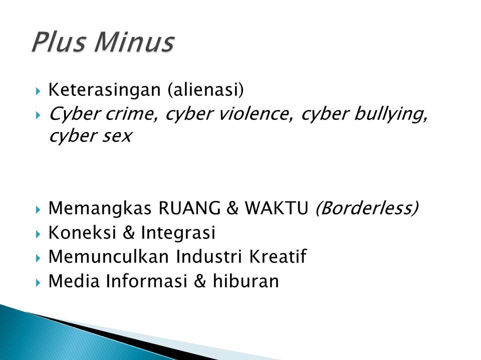  Keterasingan (alienasi)  Cyber crime, cyber violence, cyber bullying, cyber sex  Memangkas RUANG & WAKTU (Borderless)  Koneksi & Integrasi  Memunculkan Industri Kreatif  Media Informasi & hiburan