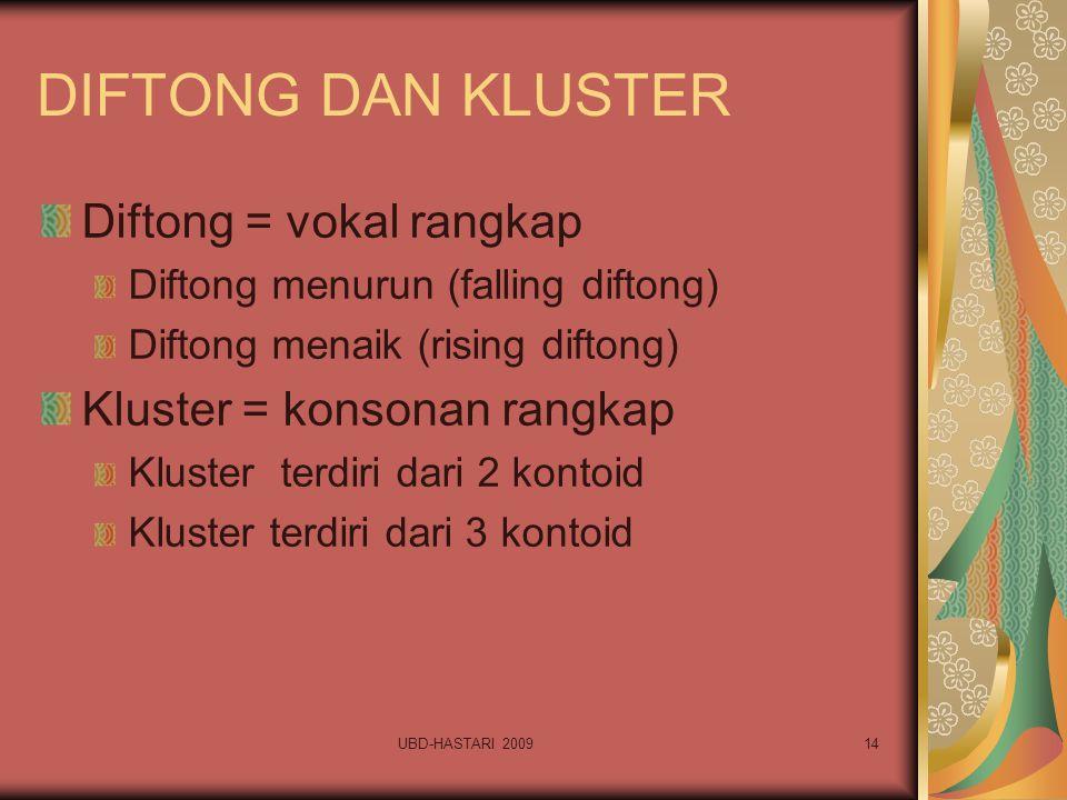 UBD-HASTARI 200914 DIFTONG DAN KLUSTER Diftong = vokal rangkap Diftong menurun (falling diftong) Diftong menaik (rising diftong) Kluster = konsonan ra