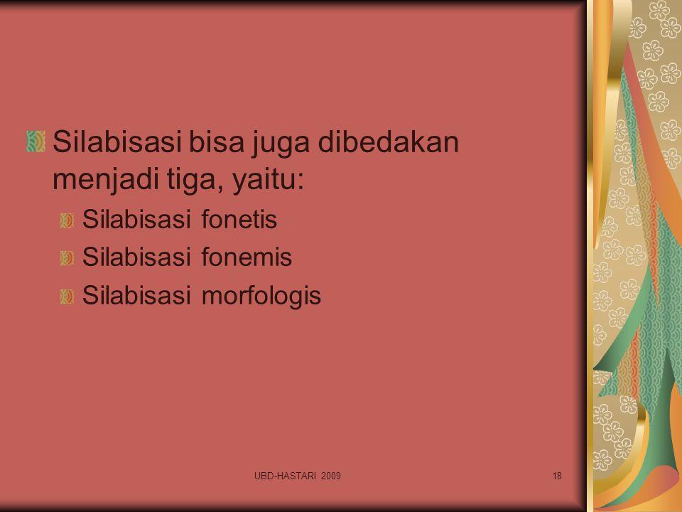 UBD-HASTARI 200918 Silabisasi bisa juga dibedakan menjadi tiga, yaitu: Silabisasi fonetis Silabisasi fonemis Silabisasi morfologis