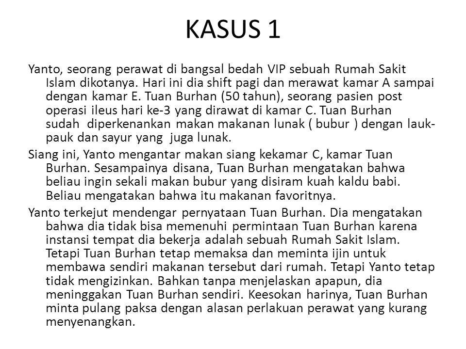 KASUS 1 Yanto, seorang perawat di bangsal bedah VIP sebuah Rumah Sakit Islam dikotanya.