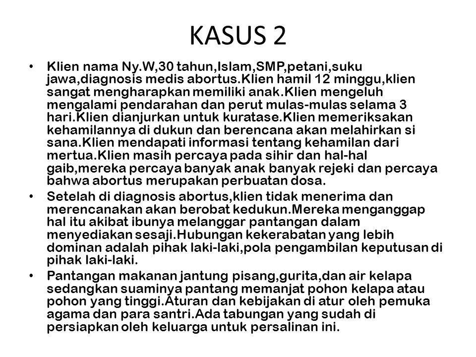 KASUS 3 Tn.A usia 45 tahun dirawat di RSUD kota Jakarta sejak seminggu yang lalu.