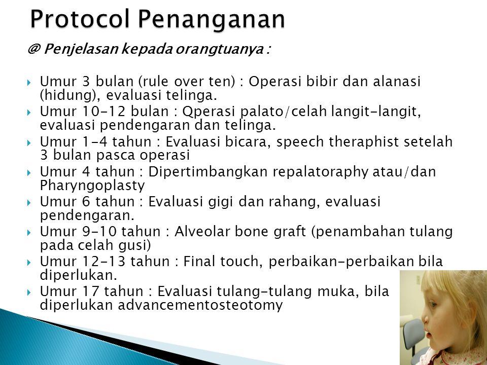 @ Penjelasan kepada orangtuanya :  Umur 3 bulan (rule over ten) : Operasi bibir dan alanasi (hidung), evaluasi telinga.  Umur 10-12 bulan : Qperasi