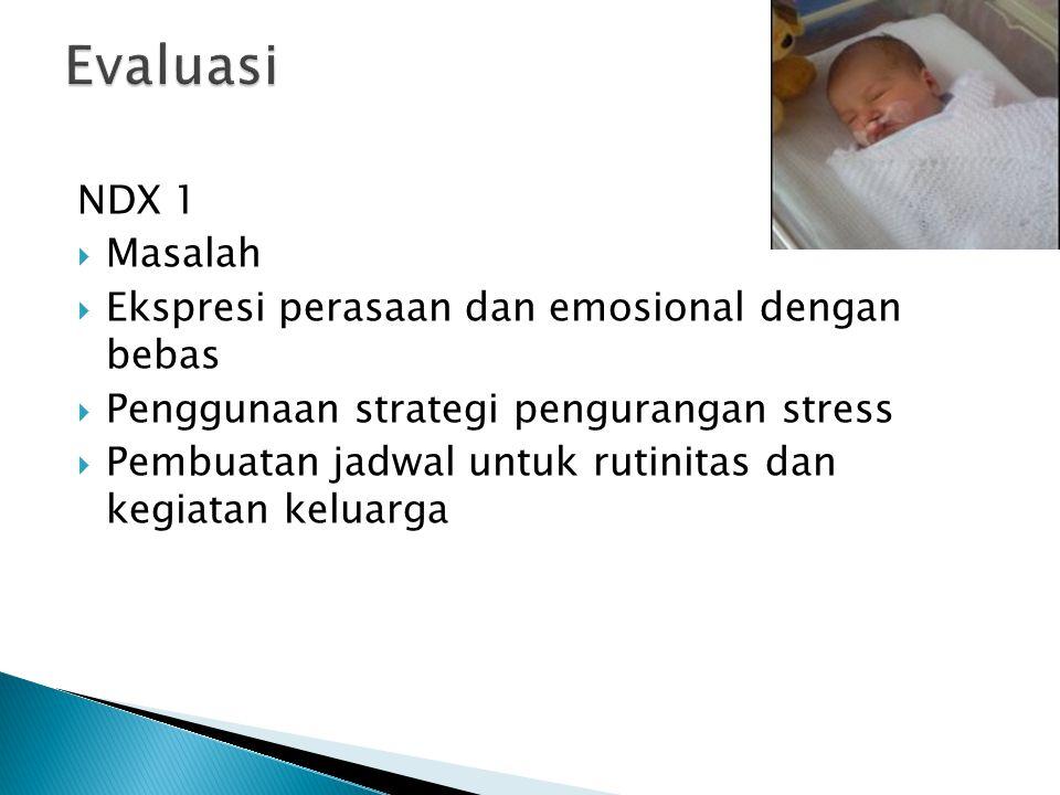 NDX 1  Masalah  Ekspresi perasaan dan emosional dengan bebas  Penggunaan strategi pengurangan stress  Pembuatan jadwal untuk rutinitas dan kegiata